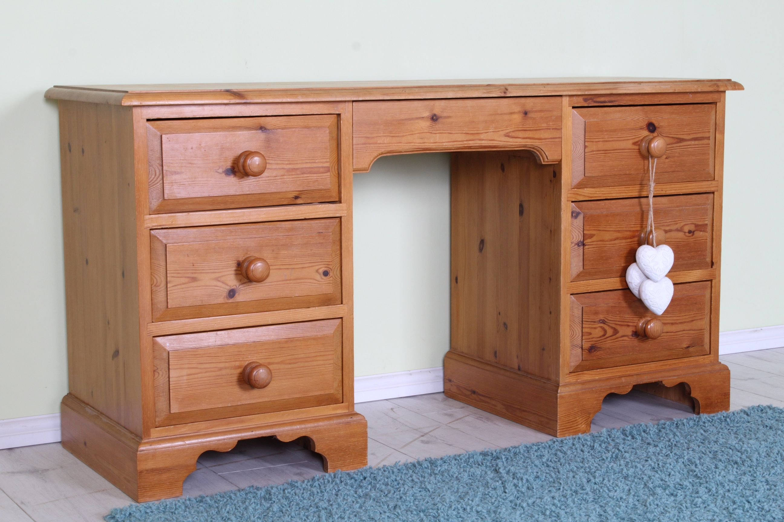 solid dressing table with pine quality drawers desk free pin delivery waxed local drawer