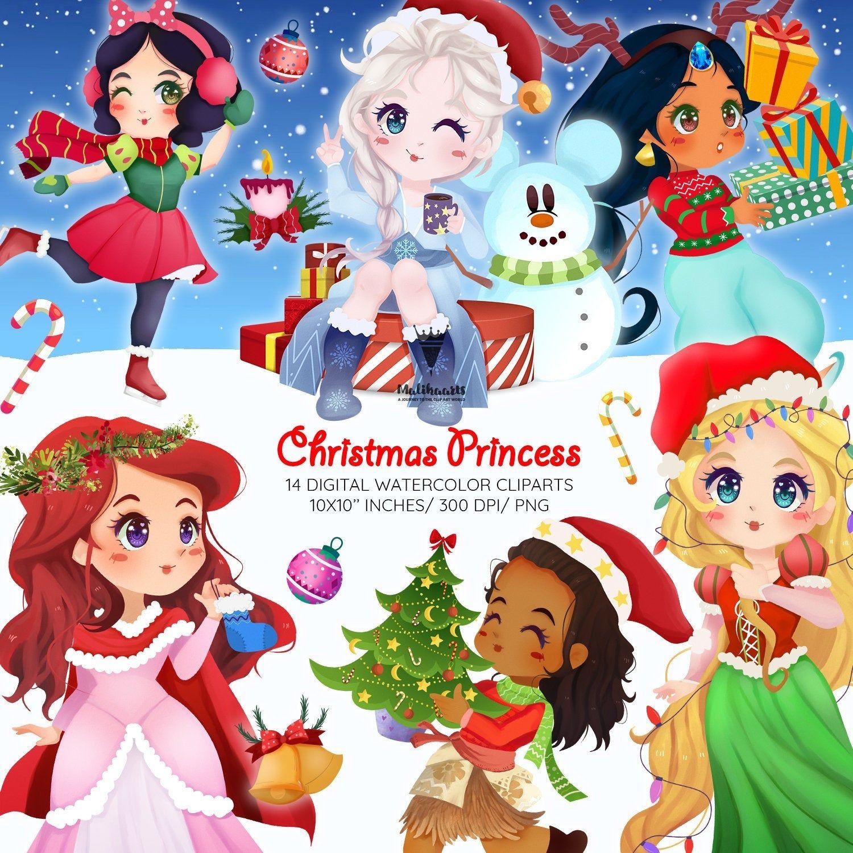 Christmas Princess 2020 Christmas princess clipart New year clipart Moana clipart | Etsy