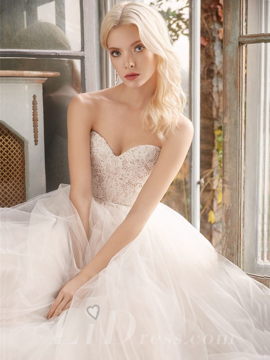 Strapless Sweetheart Beaded Bridal Ball Gown Great Discount