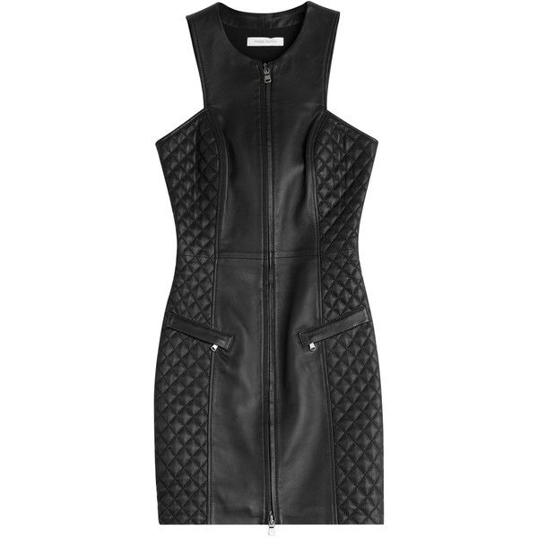 Pierre Balmain Leather Dress (5.805 NOK) ❤ liked on Polyvore featuring dresses, balmain, black, pierre balmain, leather panel dress, leather dress, panel dress and thigh high dress