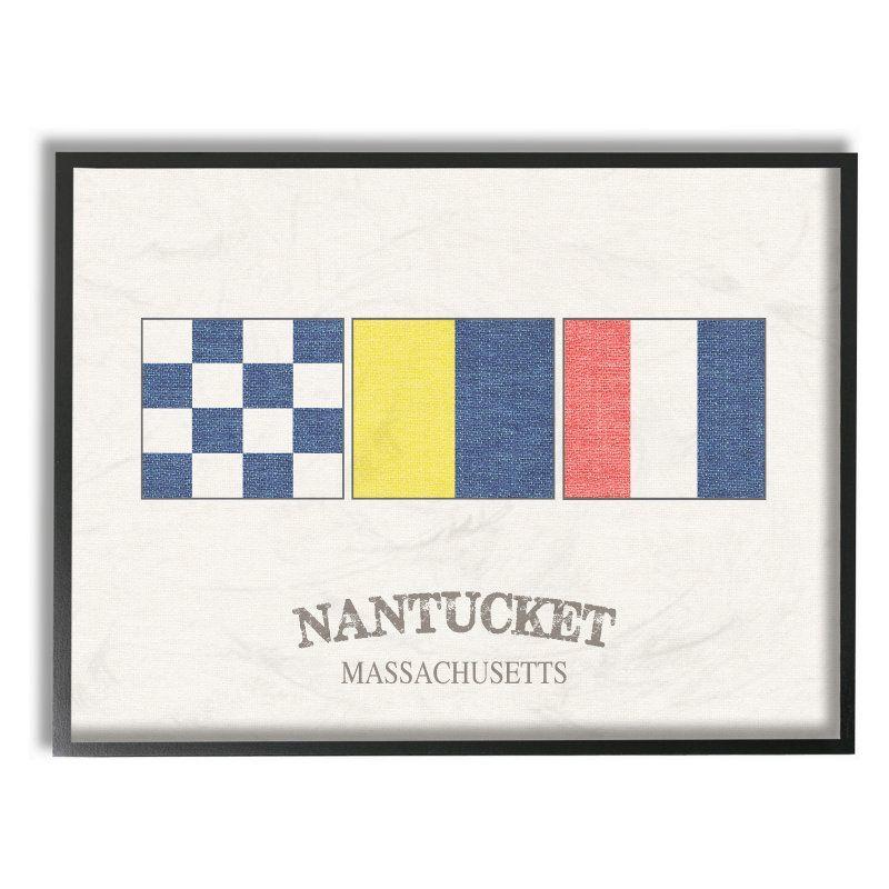 Stupell Decor Nantucket Nautical Flags Framed Wall Art - CW ...
