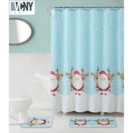 VCNY Holiday Theme Christmas Santa Reindeer 15 Piece Shower Curtain Bath Set
