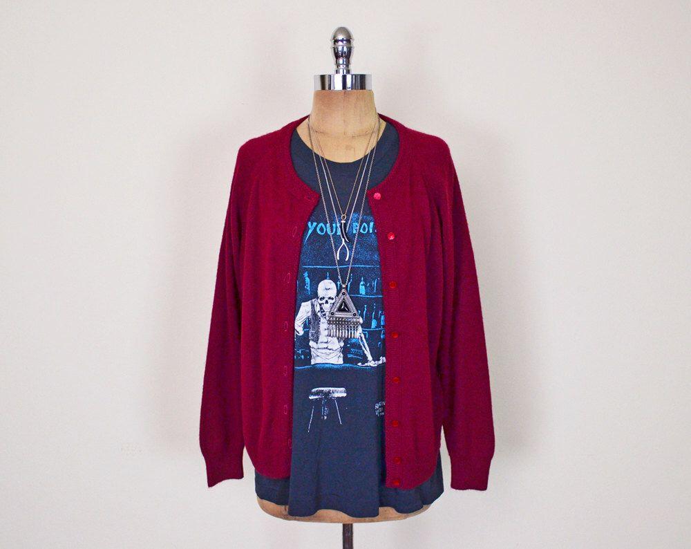 Vintage 90s Oxblood Maroon Burgundy Cardigan Sweater Jumper ...