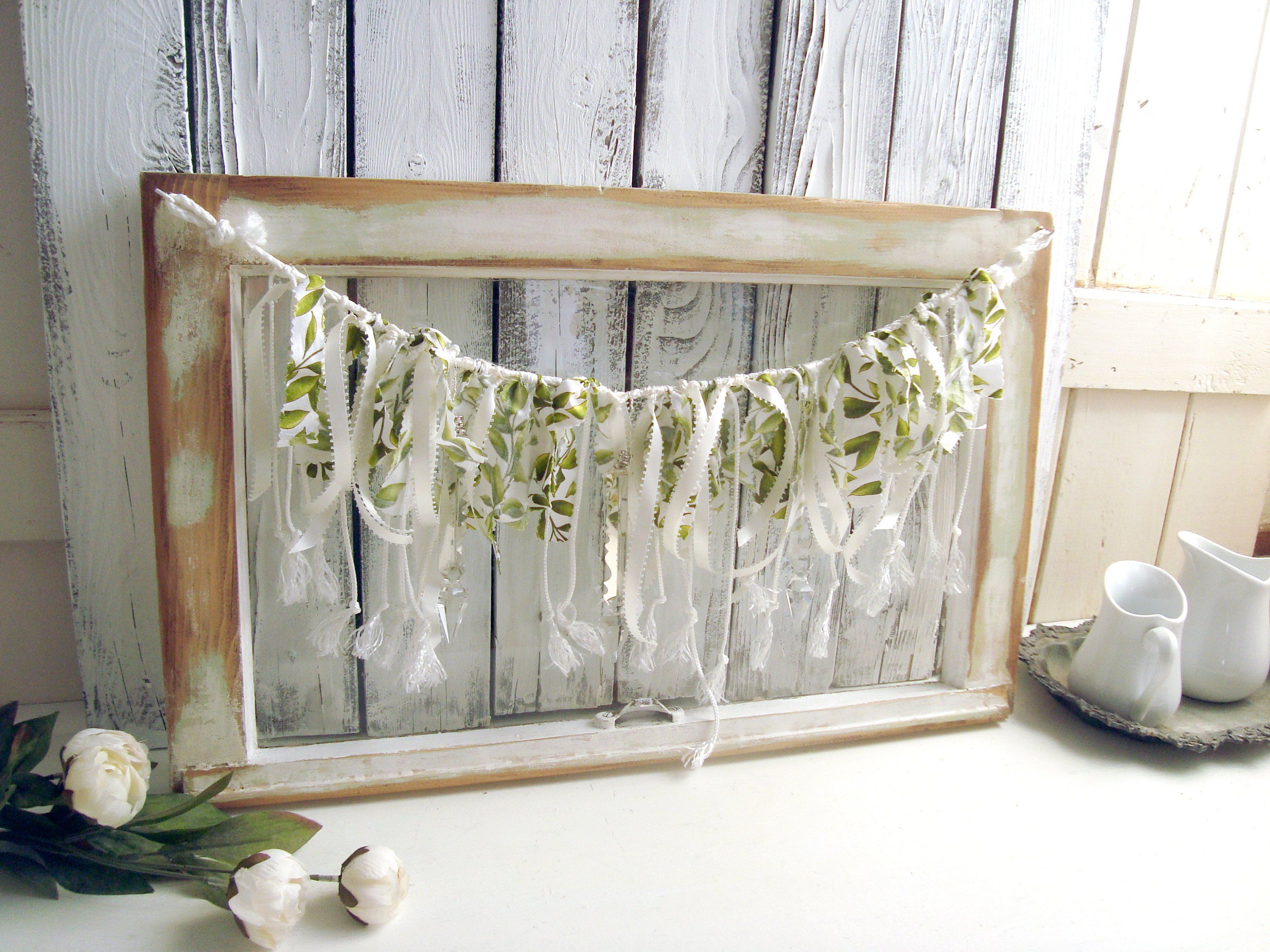Vintage Window With Garland Holiday Wall Decor Rustic Farmhouse