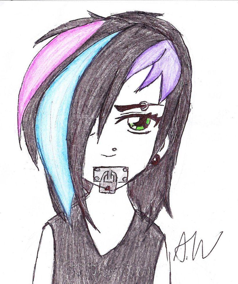 easy anime drawings emo girl face