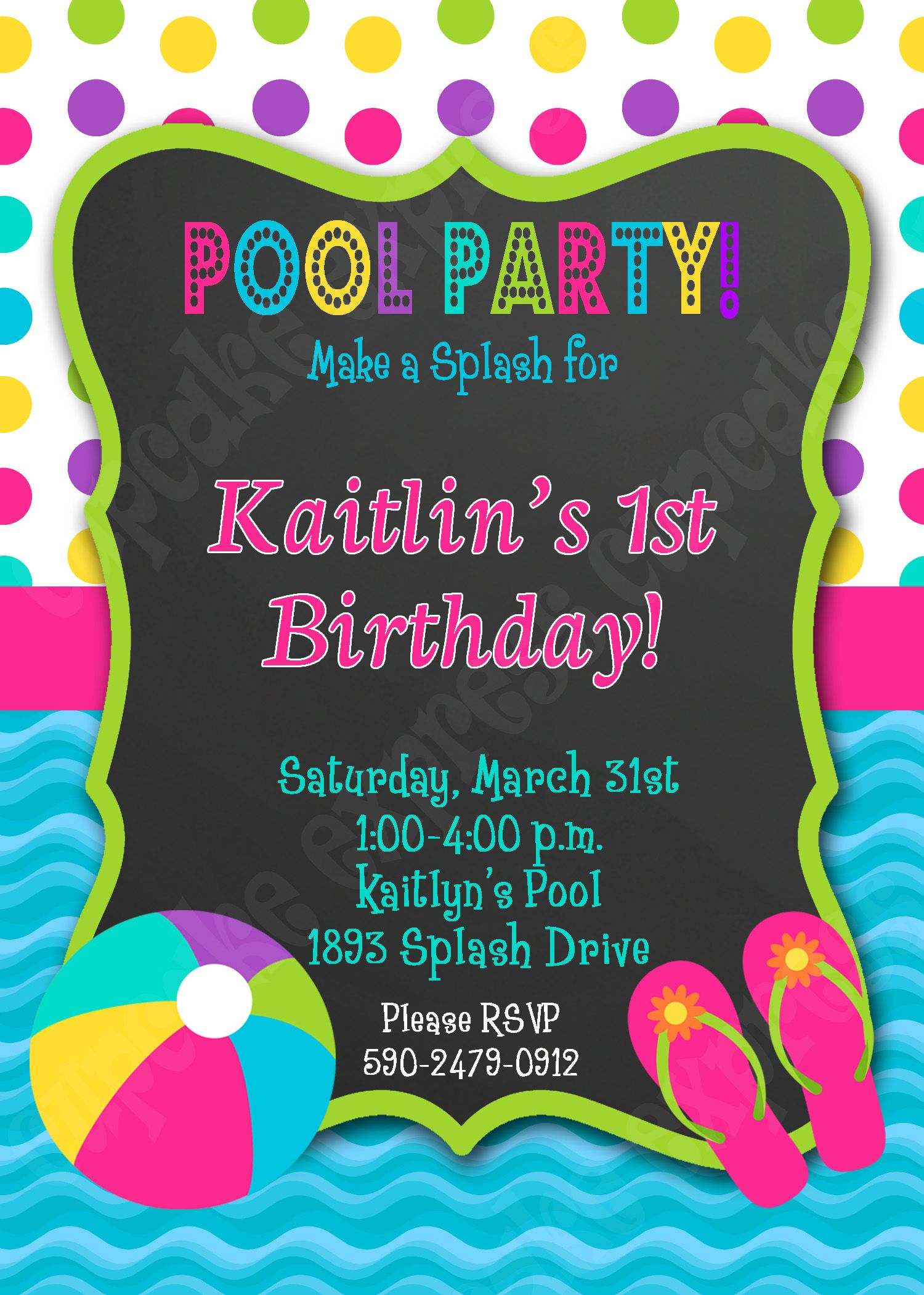 Pool Party Birthday Printable invitation swimming party chalkboard ...