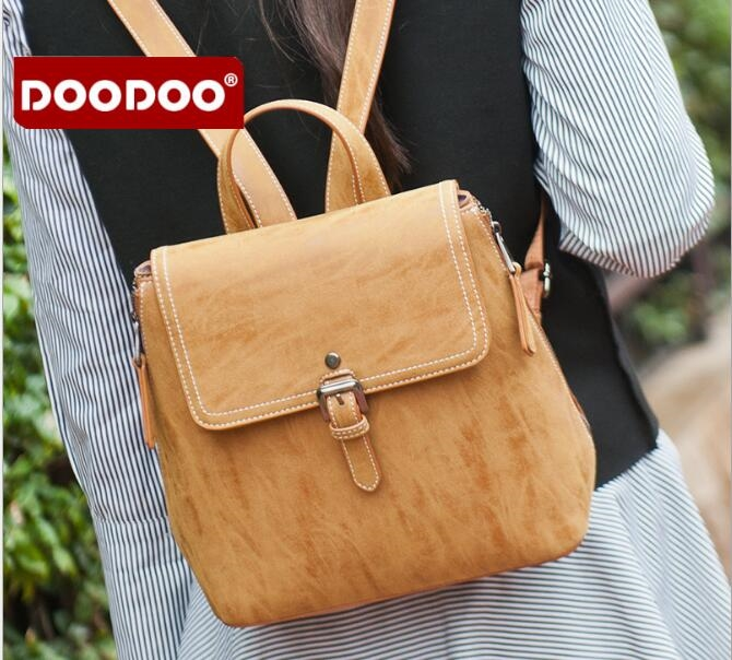37.66$  Buy now - http://alic7d.shopchina.info/go.php?t=32811811404 - Original DOODOO Brands FR428 Women Backpack New Girls Small PU leather Backpack school bag ladies women soft preppy style bag  #buychinaproducts