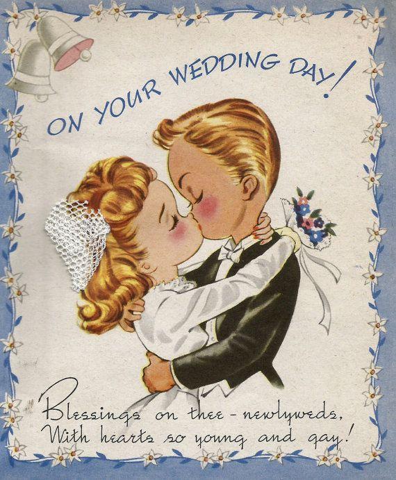 Vintage Wedding Congratulations Card Newlyweds Bride Groom Wedding Greeting Cards Wedding Congratulations Card Wedding Greetings