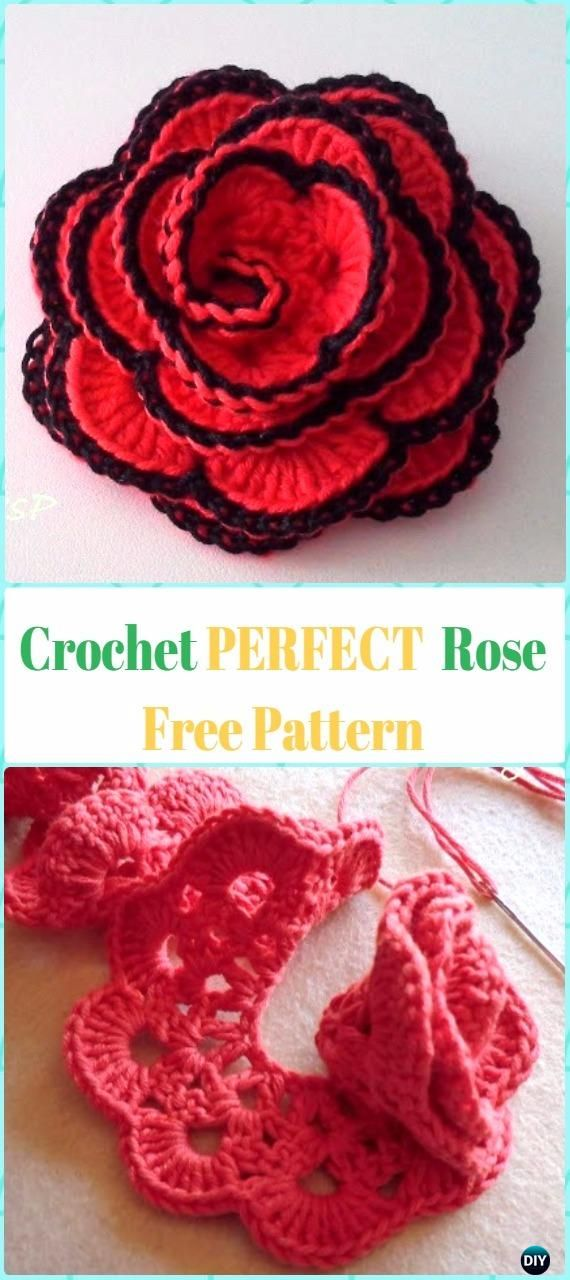 9b6c78dcd03 Crochet 3D Rose Flowers Free Patterns & Tutorials | Crochet and ...