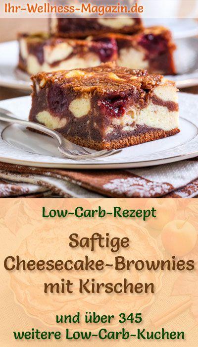 Saftige Cheesecake-Brownies mit Kirschen - Low-Carb-Rezept ohne Zucker