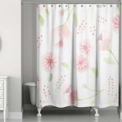 Designs Direct Spring Light Watercolor Buds 74 Inch Shower Curtain