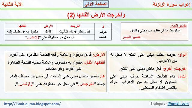 إعراب القرآن الكريم إعراب وأخرجت الأرض أثقالها 2 Boarding Pass Quran Airline