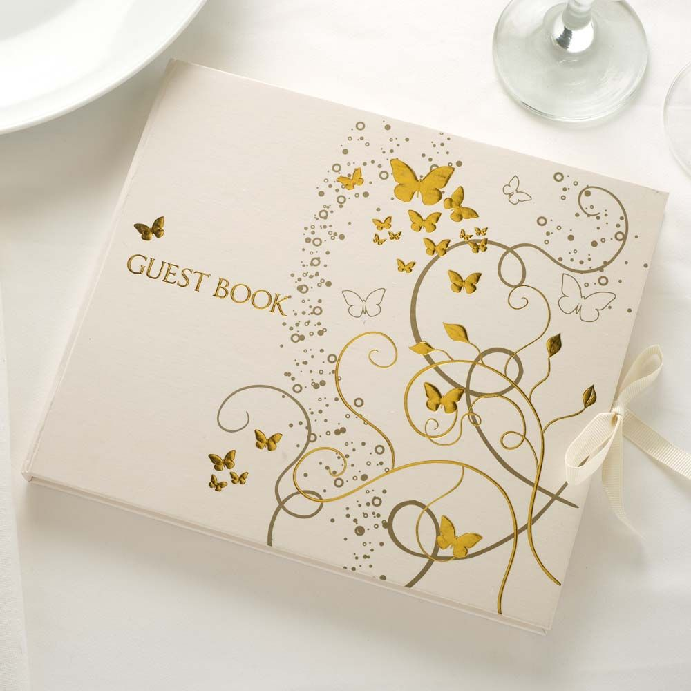 Gold Elegant Butterfly Wedding Guest Book - confetti.com | Braid ...