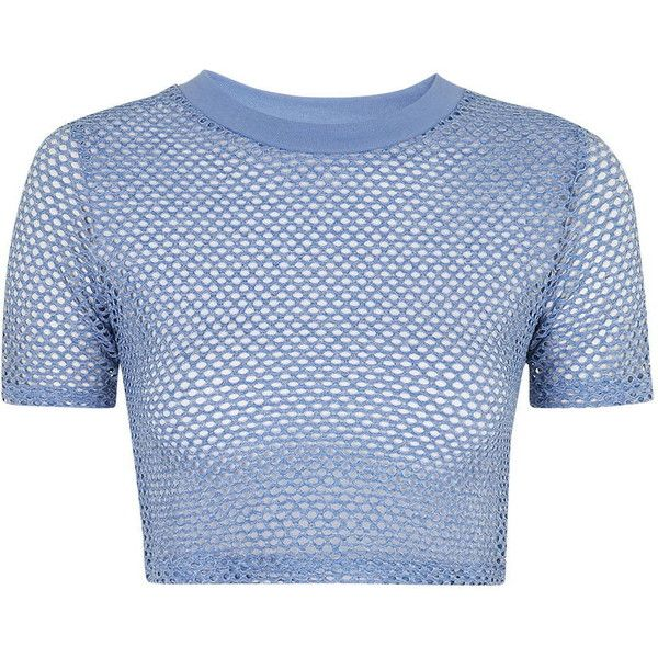 f4e39e16037 TopShop Airtex Cropped Tee ($21) ❤ liked on Polyvore featuring tops, t-