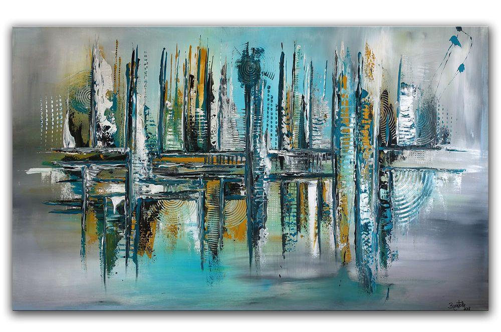 Burgstaller panorama petrol gem lde abstrakt handgemalt gr n gelb blau malerei acrylicpainting - Wandbild petrol ...