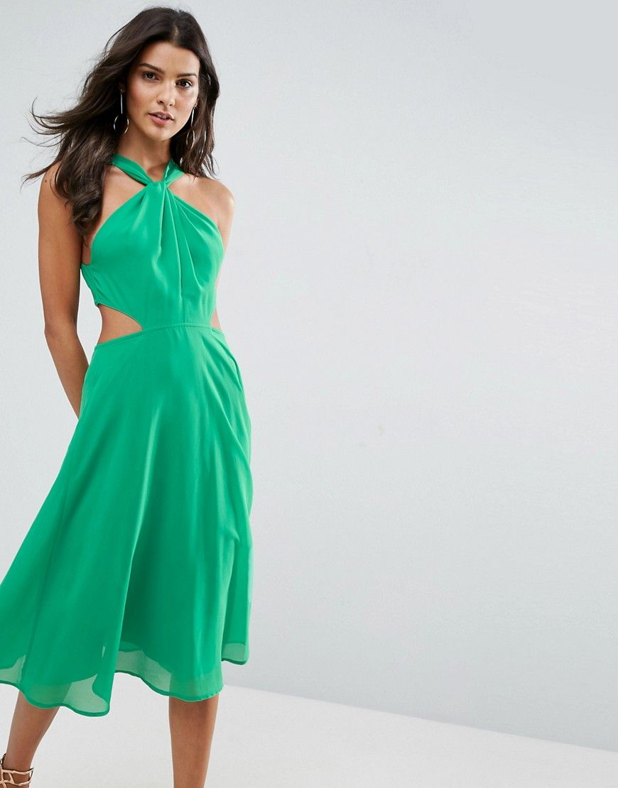 ASOS Side Cut Out Midi Dress with Twisted Neckline - Green ...