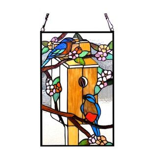 Shop for Chloe Lighting Tiffany Style Birdhouse With Birds Design Stained Glass Window Panel. Get free delivery at Overstock.com - Your Online Home Decor Outlet Store! Get 5% in rewards with Club O!
