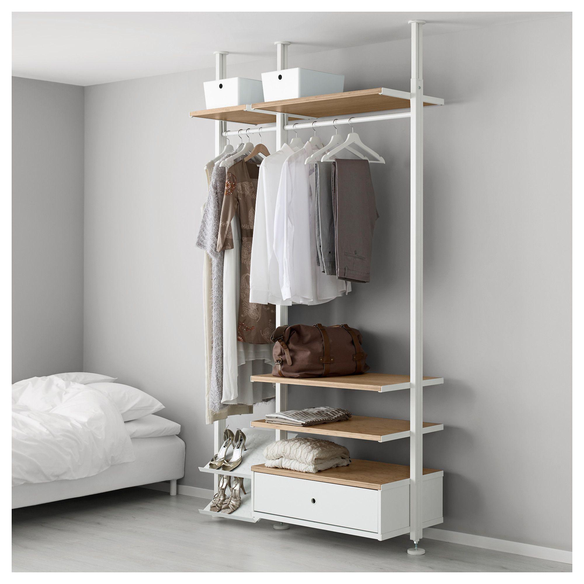 Best Elvarli 2 Section Shelving Unit White Bamboo In 2019 640 x 480