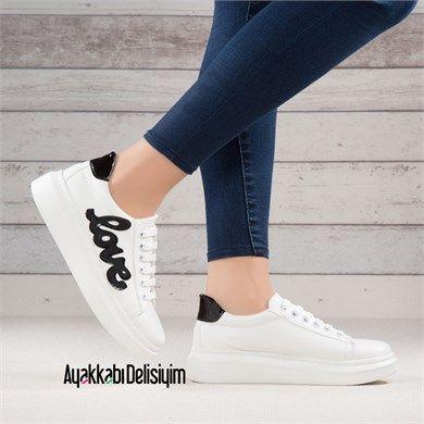 Cevyez Siyah Beyaz Kalin Taban Spor Ayakkabi Bayan Ayakkabi Ayakkabilar Balenciaga Ayakkabi