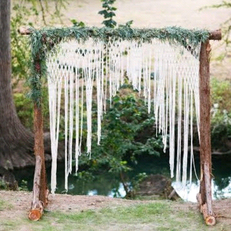Wedding Column Decorations For Altar: Boho Wedding Arch For Altar Or Home Decor. Unique Macrame