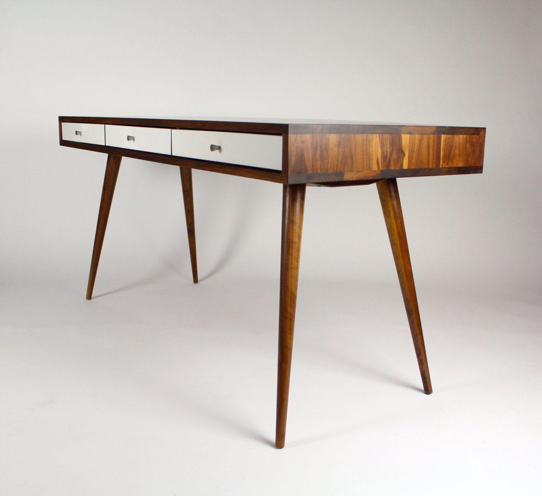 office desk solid wood. Office Desk Walnut Oak Mid Century Writing Midcentury Solid Wood T