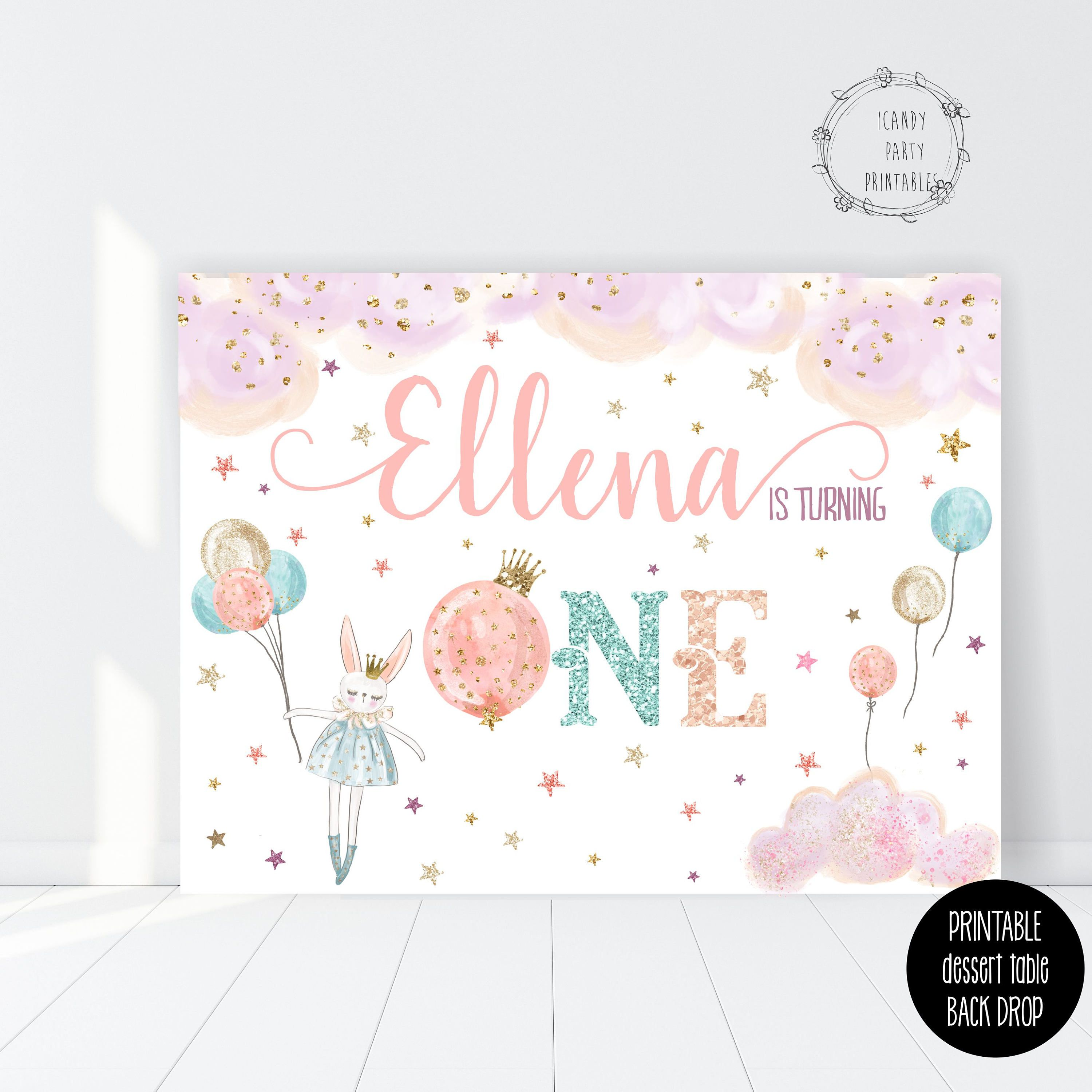 photograph relating to Printable Backdrop identified as 1st Birthday BUNNY Printable Backdrop, Personalized through us