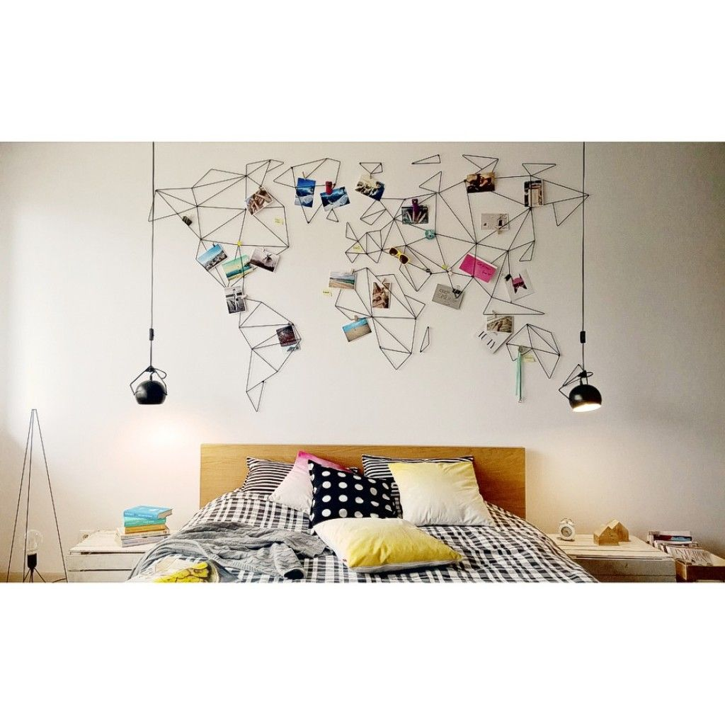World Map Decorations Let S Find A Different Map And Do This Idea For The Spare Room