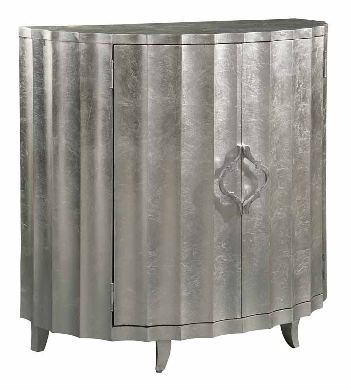 Hekman Distressed Scalloped Front Demilune Chest with Silver Leaf Finish