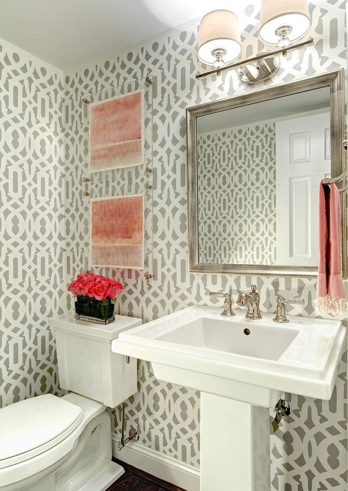 Powder Room With Pedestal Sink Decorating Ideas from i.pinimg.com