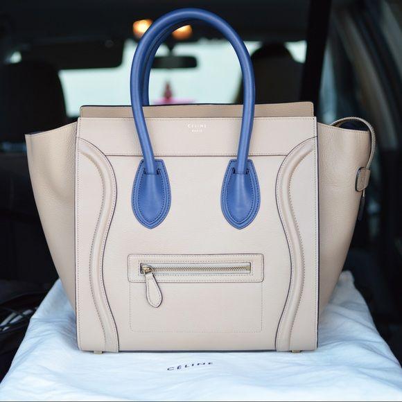 74338983bfc5 CELINE Micro Luggage Tote Handbag Beige Royal Blue 99% new CÈLINE Paris  Micro Luggage