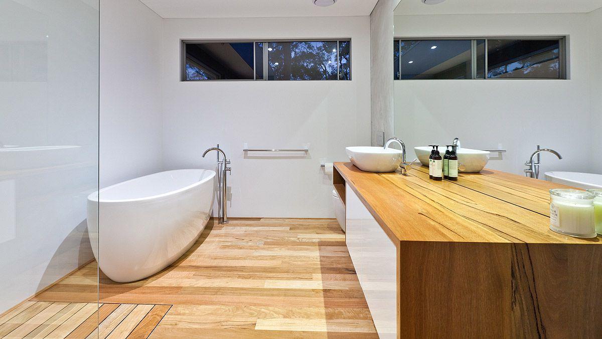 Modern Bathroom Design, Timber bathroom floors, free standing bath ...