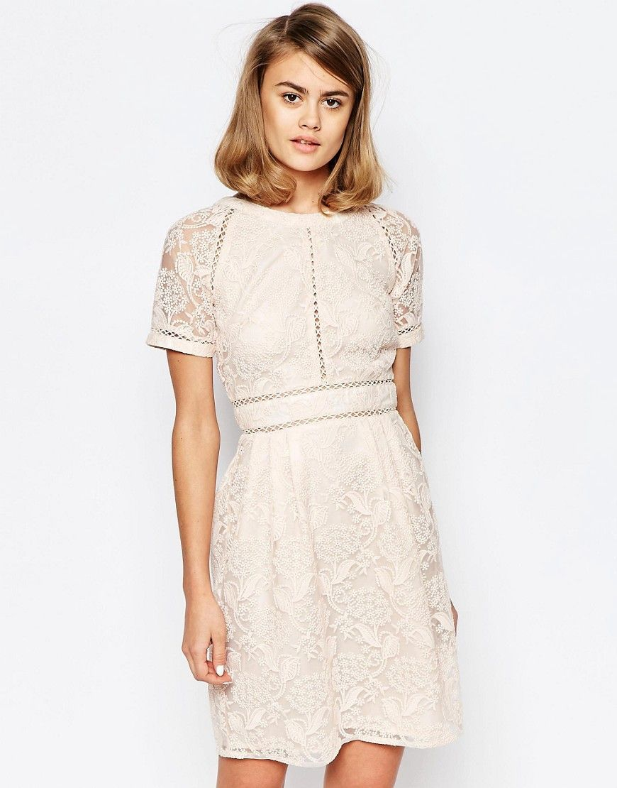 Image 1 of Lost Ink Lace Panel Skater Dress with Raglan Sleeve