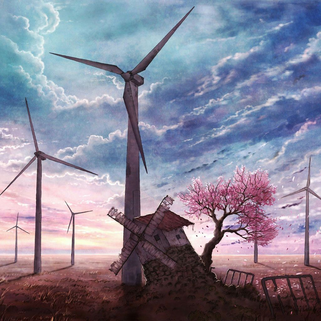 Windmill art iPad background (With images) Anime scenery