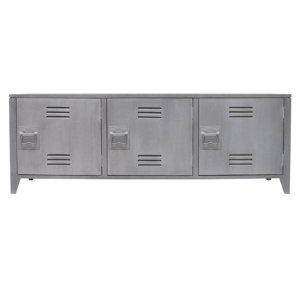 LOCKER+STYLE+TV+CABINET+with+Shelves+in+Grey+Mango+Wood ...