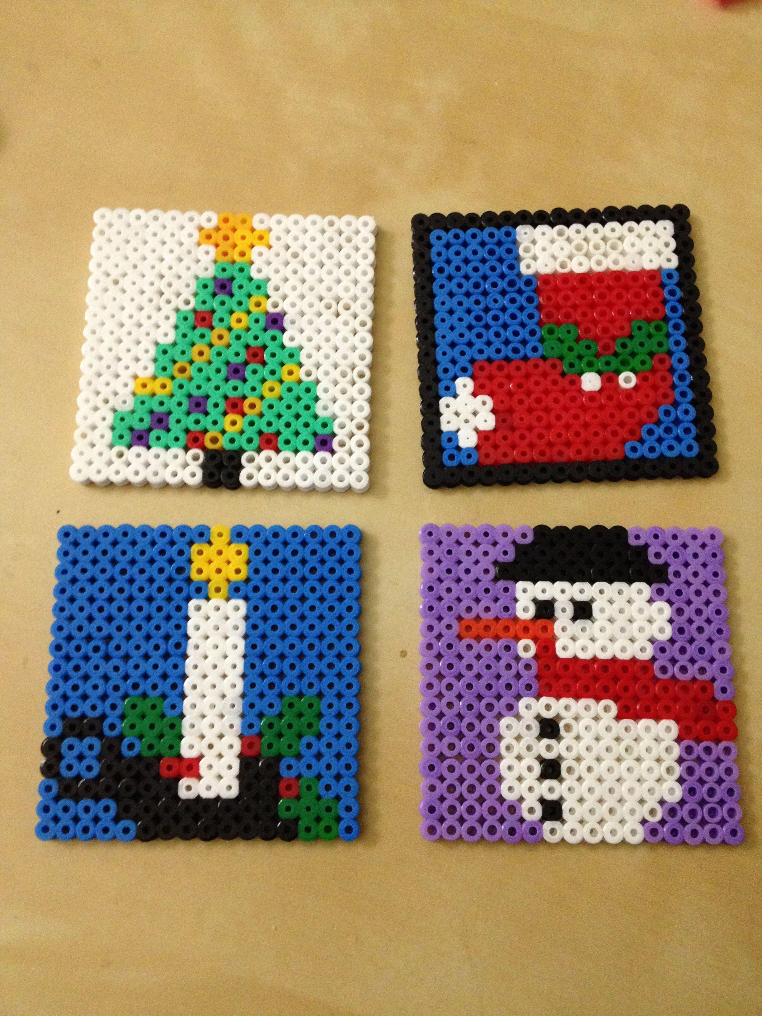 Christmas Hama Beads.Christmas Coasters Hama Beads By Irema Diadema Melt Beads