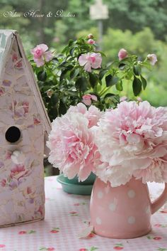 Shabby Chic Birdhouse with Cottage Pink and White Polka Dot Vase with Pink Flowers