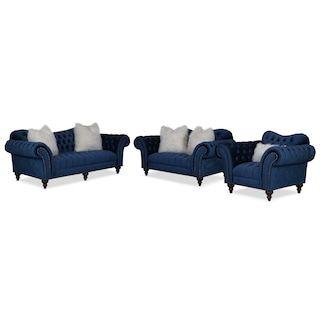 Best Brittney Sofa Loveseat And Chair Set Navy Furniture 400 x 300