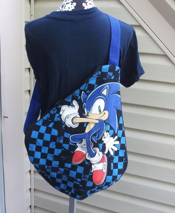 Sonic The Hedgehog Slingback Backpack Sega By Kraftynerdsquad Slingback Sonic T Shirt Bag Straps