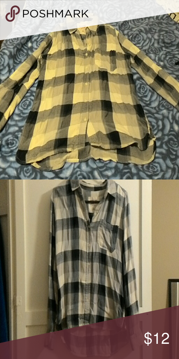 Mossimo Flannel Black and white plaid mossimo flannel Tops Button Down Shirts