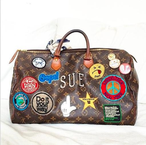 Anya hindmarch stickers on louis vuitton speedy bag