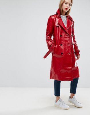 Trench-coat en vinyle   asos   Manteau, Manteau automne et Manteau rouge 76c94714f319