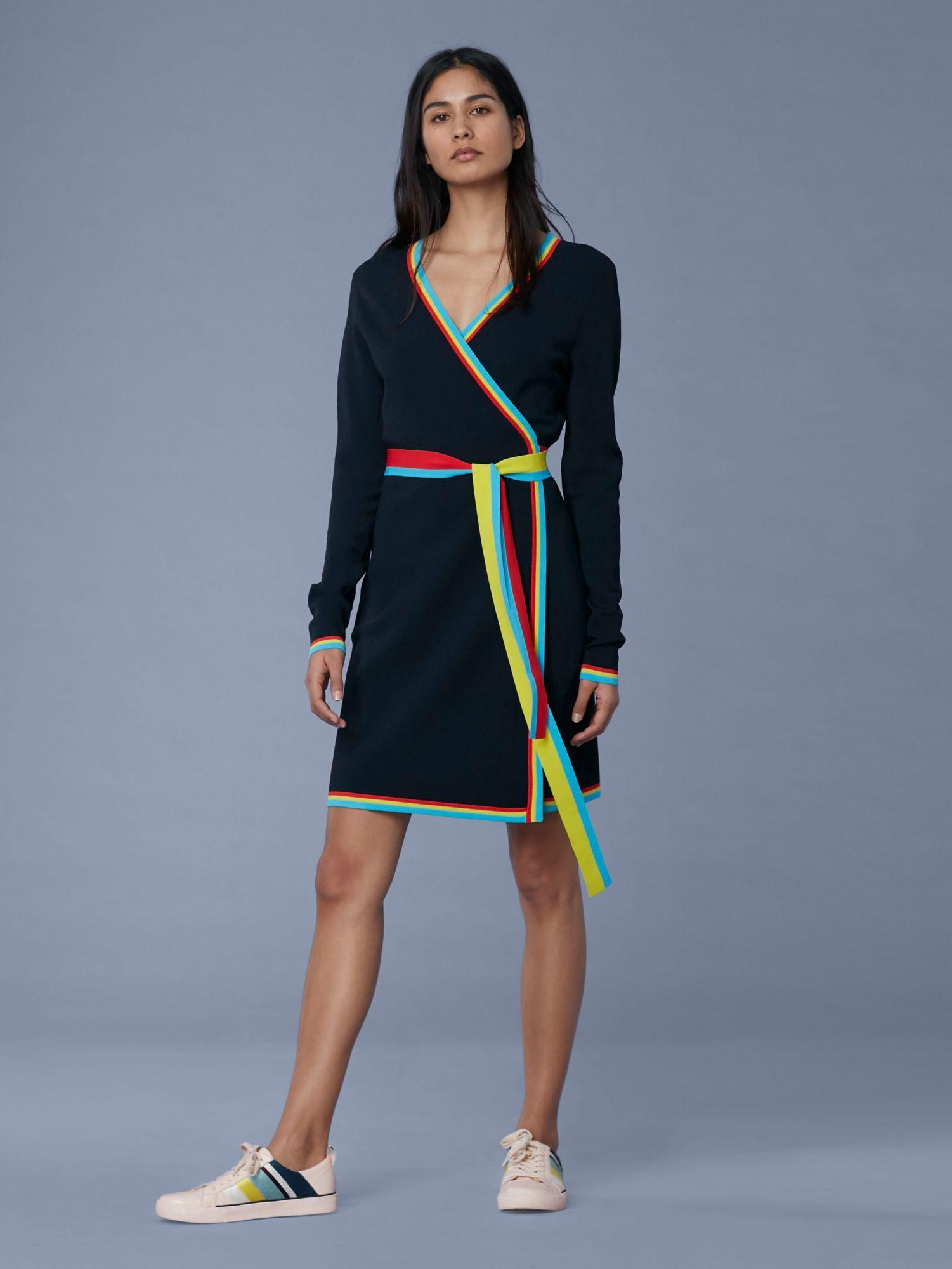 ab8dee90b07 Diane Von Furstenberg Dvf Sweater Wrap Dress - Alexander Navy Multi ...