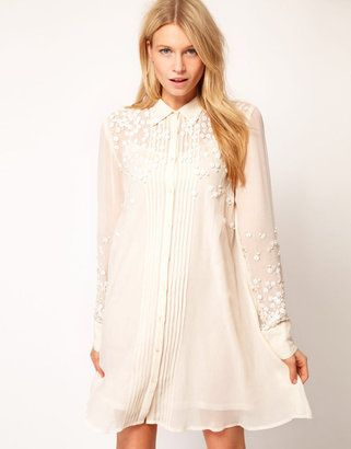 daa416f4920 ShopStyle  ASOS Shirt Dress With Embellished Flower Pearl Trim