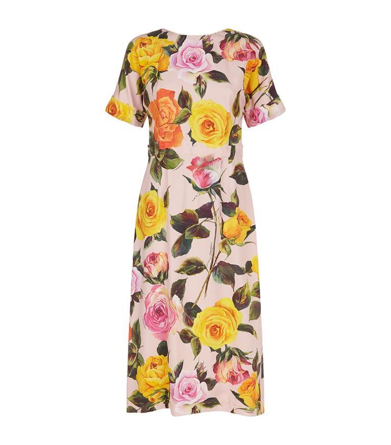 Printed Cotton And Silk-blend Brocade Midi Dress - Orange Dolce & Gabbana Up To Date Cheap Sale For Nice Low Cost Online He8FCe2