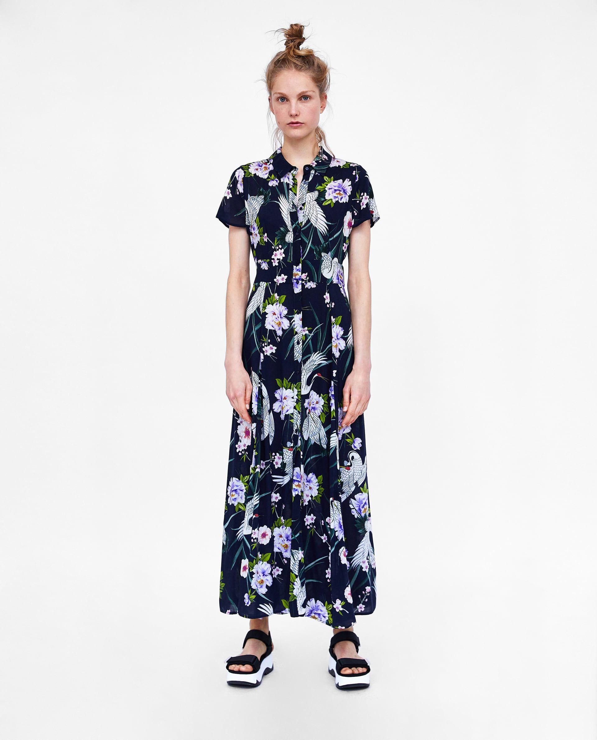 Zara vestido largo estampado flores