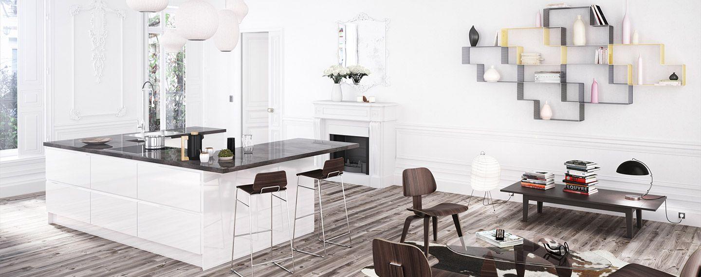 cette cuisine moderne avec plan de travail en composite se marie bien dans cet int rieur. Black Bedroom Furniture Sets. Home Design Ideas