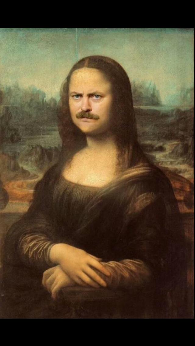 ron swason parks and rec wallpaper mona lisa funny Mona