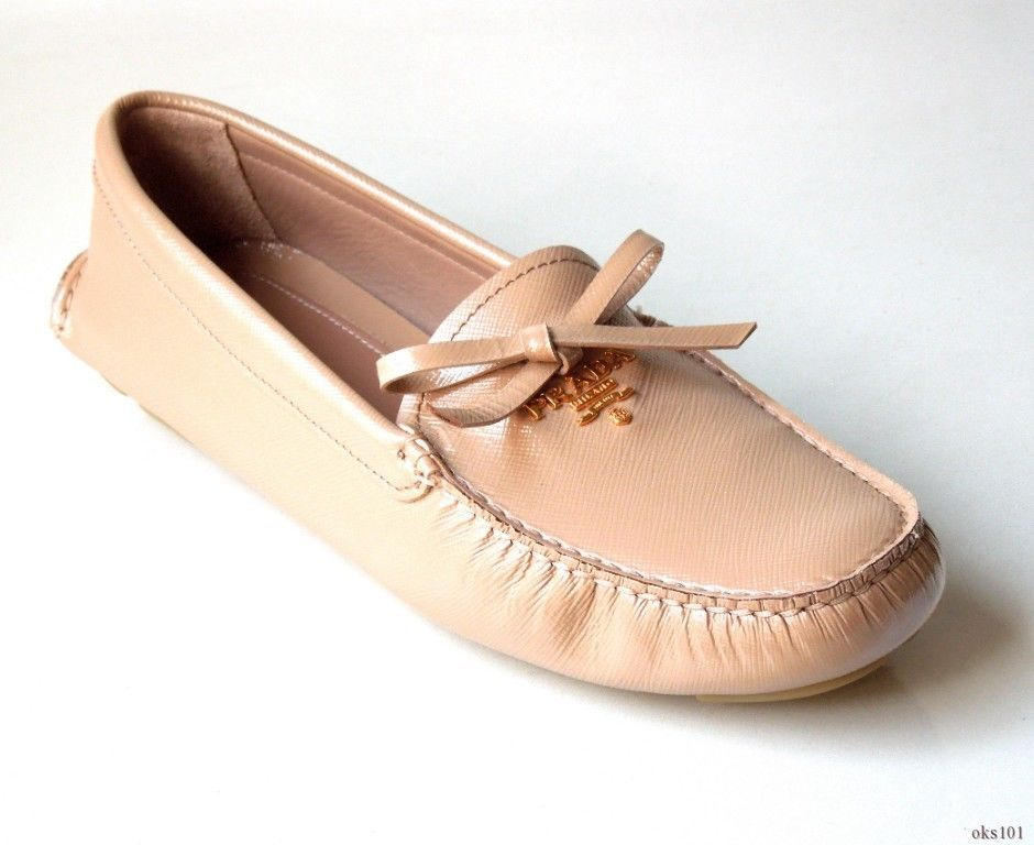 New Prada Beige Tan Saffiano Leather Gold Logo Driving Loafers Flats Shoes  40 10  cb3f73159