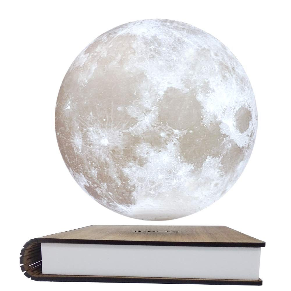 Cpla Magnetic Levitating Moon Lamp 3d Printing Floating And Spinning Unibody Seamless Decorative Table Lamp A Moon Light Lamp Decorative Table Lamps Led Color