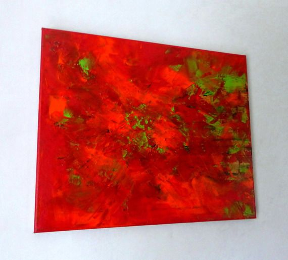 Peinture Tableau Art Contemporain Orange Rouge Vert Anis Deco Murale D Co Art Et Orange